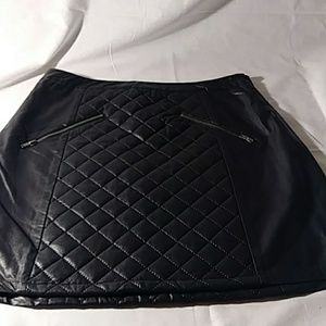 Sparkle & Fade Faux Leather Skirt 6 Black